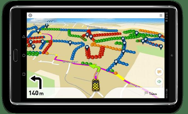 Navigation für ein Müllfahrzeug mit dargestellter Tour