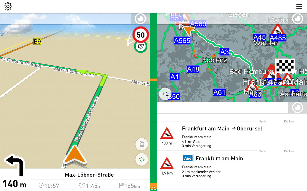 truck navigation for android with traffic overview