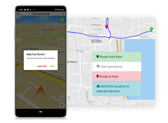 Send destinations and routes to the navigation app