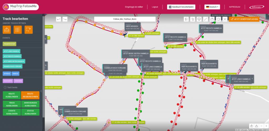 Im MapTrip-Editor können die einzelnen GPS-Punkte einer Route zu einer für den Anwender sinnvollen Strecke zusammengefügt werden